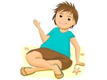 Karikatur-Klipp Art Children Child auf Strand-Sommer-Szenen-Strand-Schule Stockbilder