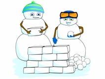 Karikatur-Klipp-Art Children Snowman Building Snow-Fort-Haus-Winter-Szenen-Schule Lizenzfreies Stockbild