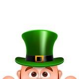 Karikatur-Kobold in einem grünen Hut Karte für Heiliges Patricks-Tag Stockbilder
