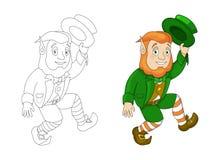 Karikatur-Kobold im grünen Kittelmantel- und -Zylindertanzen lizenzfreie abbildung