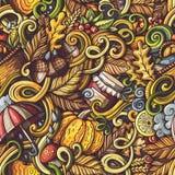 Karikatur kritzelt nahtloses Muster des Herbstes Lizenzfreie Stockfotos