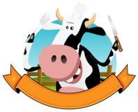 Karikatur-Kuh-Fahne Stockbild
