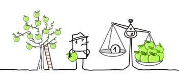 Karikatur-Landwirt und niedriger Preis-Apfel-Produktion stock abbildung