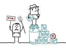 Karikatur-Landwirte, die gegen Milch-Preiskalkulation protestieren lizenzfreie abbildung