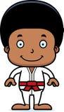 Karikatur-lächelnder Karate-Junge Lizenzfreie Stockfotografie