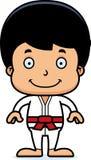 Karikatur-lächelnder Karate-Junge Stockfotos