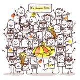 Karikatur-Leute und Sommerzeit lizenzfreie abbildung