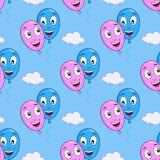 Karikatur-Liebe steigt nahtloses Muster im Ballon auf Lizenzfreies Stockbild