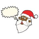 Karikatur lustiger Weihnachtsmann stellen mit Spracheblase gegenüber Stockbild