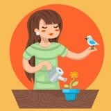 Karikatur-Mädchen-weiblicher Frauen-Charakter-Vogel-Bewässerungsblumen-Ikone auf stilvoller Hintergrund-Design-Vektor-Illustratio stock abbildung