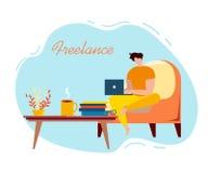 Karikatur-männlicher Freiberufler Sit Armchair Notebook Work lizenzfreie abbildung