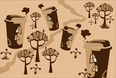 Karikatur-Märchen, die Ñofe Stadt zeichnen. Stockfoto