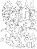 Karikatur, Malbuch The Guardian-Engel schützt den babys Schlaf Innenraum des Kinderzimmers Stockfotografie