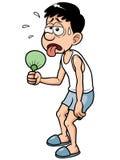 Karikatur-Mann bei heißem Wetter Stockfotos