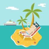 Karikatur-Mann-Charakter-Sommer-Reise-Ferien-Seeinsel-beweglicher Ozean-Himmel-Hintergrund-moderner flacher Design-Vektor lizenzfreie abbildung
