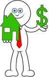 Karikatur-Mann, der Haus und Dollar hält Stockfoto