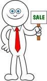 Karikatur-Mann, der Verkaufs-Schild hält Lizenzfreie Stockfotografie