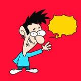 Karikatur-Mann sagen - gelbe Sprache-Blase - rotem Hintergrund lizenzfreies stockbild