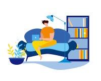 Karikatur-Mann Sit Couch mit Notizbuch-Freiberufler stock abbildung