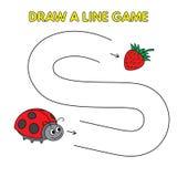 Karikatur-Marienkäfer zeichnen eine Linie Spiel für Kinder stock abbildung
