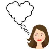 Karikatur-Mädchen träumt die Liebe, die in der Sprache-Luftblase Romance ist Lizenzfreie Stockfotos