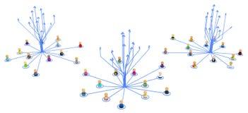 Karikatur-Menge, Link-Pfeil-Gruppen-Aufstieg Stockfoto