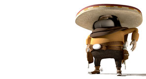 Karikatur-Mexikaner in der mexikanischen Distanzhülse Stockbilder
