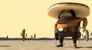 Karikatur-Mexikaner in der mexikanischen Distanzhülsen-Wüste Stockfotos