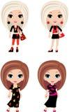 Karikatur mit vier Mädchen Stockfotos