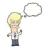 Karikatur mna mit dem Schnurrbart, der mit Gedankenblase erklärt Stockfotografie