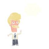 Karikatur mna mit dem Schnurrbart, der mit Gedankenblase erklärt Stockbild