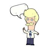Karikatur mna mit dem Schnurrbart, der mit Spracheblase erklärt Lizenzfreie Stockfotografie