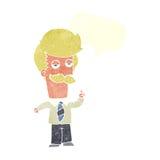 Karikatur mna mit dem Schnurrbart, der mit Spracheblase erklärt Lizenzfreie Stockfotos