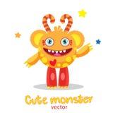 Karikatur-Monster-Ball-Maskottchen Magisches Stabs-Monster Aufblasbarer lustiger Sun Monster-Universität Vektor-fantastische Tier Lizenzfreies Stockfoto
