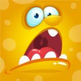 Karikatur-Monster-Gesicht Gelber schreiender Monsteravatara Vektor-Halloweens Stockfotografie