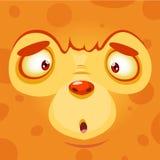 Karikatur-Monster-Gesicht Orange Monsteravatara Vektor-Halloweens Stockfoto