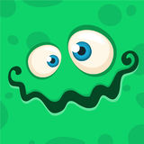 Karikatur-Monster-Gesicht Vektor-Halloween-Grünmonsteravatara lizenzfreie stockfotografie