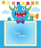 Karikatur-Monster-Vektor-Illustration Geburtstags-Thema Dekorative Karikatur-Schablone für Baby-Familie oder Gedächtnisse Lizenzfreie Stockfotografie