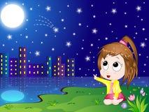 Karikatur-Nachtlandschaft Lizenzfreies Stockbild