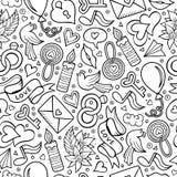 Karikatur-nette Hand gezeichnetes Valentinsgruß ` s Tagesnahtloses Muster lizenzfreie abbildung