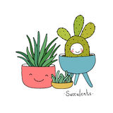 Karikatur nette Succulents im Topf Stockfotografie