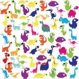 Karikatur-nette und bunte Gruppe Dinosaurier Stockfotos