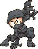 Karikatur ninja, das eine Three-Point- Landung tut Lizenzfreies Stockfoto