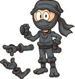 Karikatur ninja, das eine Three-Point- Landung tut Stockfoto