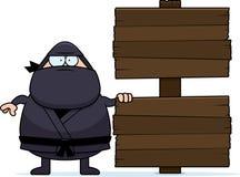 Karikatur Ninja Wood Sign Stockbilder