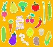 Karikatur-Obst- und Gemüse Ikonenset Lizenzfreie Stockfotografie