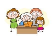 Karikatur-Oma, die eine Geschichte zu ihrer großartigen Kindervektor-Illustration erzählt lizenzfreie abbildung