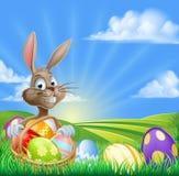 Karikatur Ostern Bunny Scene Lizenzfreie Stockfotografie