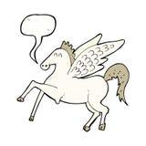 Karikatur Pegasus mit Spracheblase Stockbild