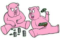Karikatur-Piggy Querneigungen, die Geld essen Lizenzfreie Stockbilder